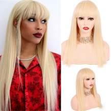 18 Inch Straight 613 Blonde Human Hair Wigs with Cute Bangs 130% Density 9A Brazilian Virgin Glueless Machine Made None Lace Front Wigs for Women (18inch)