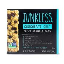 JUNKLESS Chewy Granola Bars, Chocolate Chip, 6 x 1.1 oz bars, Non-GMO, low sugar, great tasting, made for kids & families
