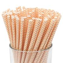 Just Artifacts 100pcs Premium Biodegradable Chevron Striped Paper Straws (Chevron Striped, Apricot)
