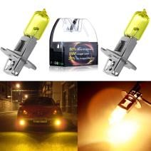 cciyu Fog Light, H3 55W Golden Yellow 3000K Xenon Halogen Light Bulbs(Pack of 2pcs)