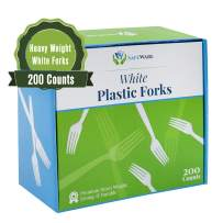 Safeware 200 White Plastic Forks, Heavy Duty, Disposable Utensil Silverware for Party, BBQ, Picnic, Family, Office, Restaurant