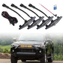 4 PCS Led Smoked Grille Lights Kits for 4Runner TRD Pro 2014-2019, Including SR5, TRD off-road, Limited, TRO Pro (Smoked shell amber lights)