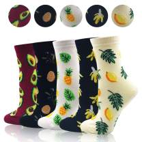 Women's Novelty Crew Socks - Funny Colorful Funky Crazy Socks Animal Fruit Cute Casual Socks Dress Socks Gift Pack