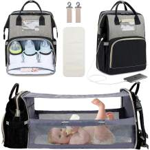 Manrany 3 in 1 Diaper Bag Backpack with Changing Station, Foldable Baby Travel Bassinet Bed, Portable Crib, Mummy Bag, Large Capacity, Waterproof, USB Charging Port (Black & Grey)