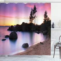 "Ambesonne Nature Shower Curtain, Lake Tahoe Beach at Sunset with Dreamy Purple Misty Sky Surreal Coast Scenery, Cloth Fabric Bathroom Decor Set with Hooks, 75"" Long, Brown Peach"