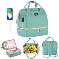 Viedouce Lunch Bag Backpack Small Diaper Bag with USB Charging Port, Mint Green