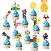 Mario Cupcake Topper – Cute Super Mario Happy Birthday Party Supplies Cake Decorations – Oh Baby Shower Party Funny Cake Topper 48Pack