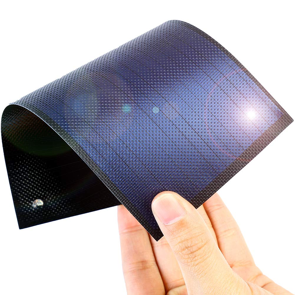 Thin Film Solar Panel Small Flexible Solar Panel Power Cells Emergency Solar Battery Charger 1W/1.5V/670MA flexible small Solar Chargers for Electronic Devices (black)