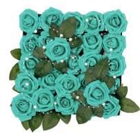 Meiliy 60pcs Artificial Flowers Teal Roses Real Looking Foam Roses Bulk w/Stem for DIY Wedding Bouquets Corsages Centerpieces Arrangements Baby Shower Cake Flower Decorations