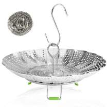 """Vegetable Steamer Basket Stainless Steel Collapsible Steamer Insert for Steaming Veggie Food Seafood Cooking, Metal Handle Foldable Legs, Fit Various Pot Pressure Cooker (5.3"""" to 9"""")"""