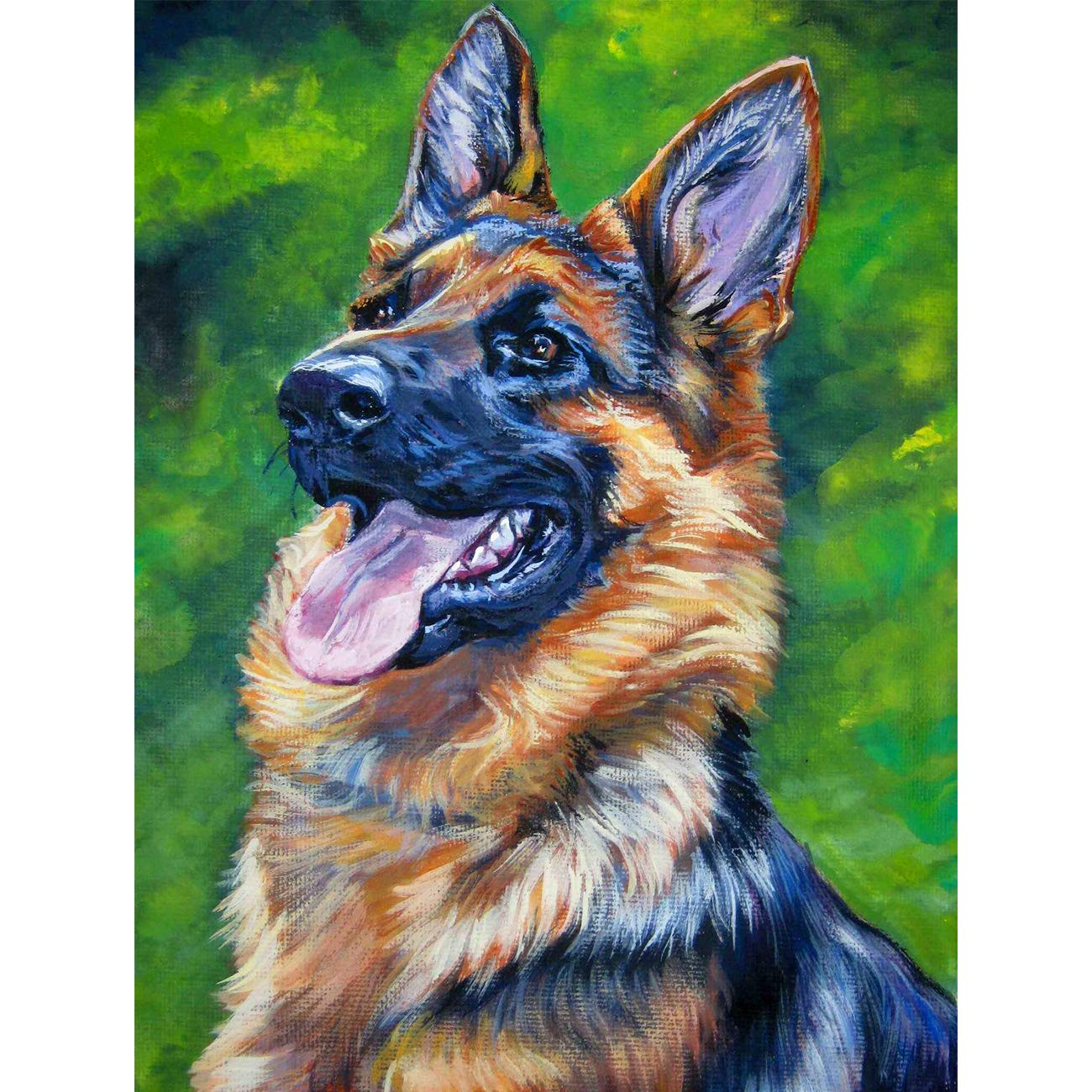 5D Diamond Painting German Shepherd Full Drill by Number Kits, SKRYUIE DIY Rhinestone Pasted Paint with Diamond Set Arts Craft Decorations (12x16inch)