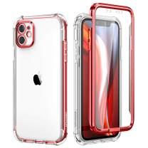 SURITCH Clear Case for iPhone 11,[Built in Screen Protector][Camera Lens Protection] Full Body Protective Hard Shell+Soft TPU Bumper Shockproof Rugged Cover for iPhone 11 6.1 Inch (Red)