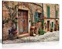 Old Mediterranean Towns Flower Door Windows Architecture Canvas Wall Art Picture Print (24x16)