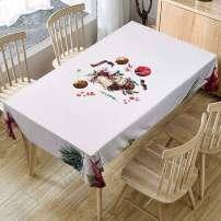 """Christmas Printed Fabric Tablecloth,Oil-Proof and Waterproof Rectangle Table Cloth, Durable and Decorative Table Cover for Christmas and Thanksgiving (55""""x94"""", Seats 6-10 People, NO.Y1980)"""