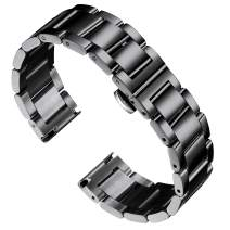 BINLUN Stainless Steel Watch Bracelets Replacement Metal Watch Band Polished Matte Brushed Finish Solid Strap for Men Women's Watch 16mm/18mm/20mm/21mm/22mm/23mm/24mm/26mm with Butterfly Buckle