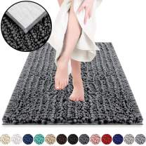 DEARTOWN Non-Slip Shaggy Bathroom Rug(27.5x47 Inches,Dark Grey),Soft Microfibers Chenille Bath Mat with Water Absorbent, Machine Washable