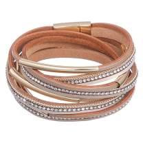 DESIMTION Womens Boho Wrap Leather Multilayer Wide Bracelets Jewelry for Women Teen Girl Boy