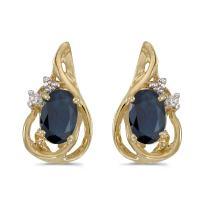 10k Yellow Gold Oval Sapphire And Diamond Teardrop Earrings
