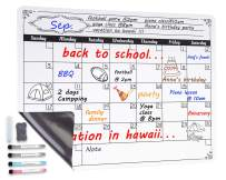 Magnetic Dry Erase Calendar for Fridge,with Stain Resistant Technology - 4 Fine Tip Markers and Large Eraser with Magnets-Monthly Whiteboard Wall Organizer Refrigerator White Grocery List and Notepad