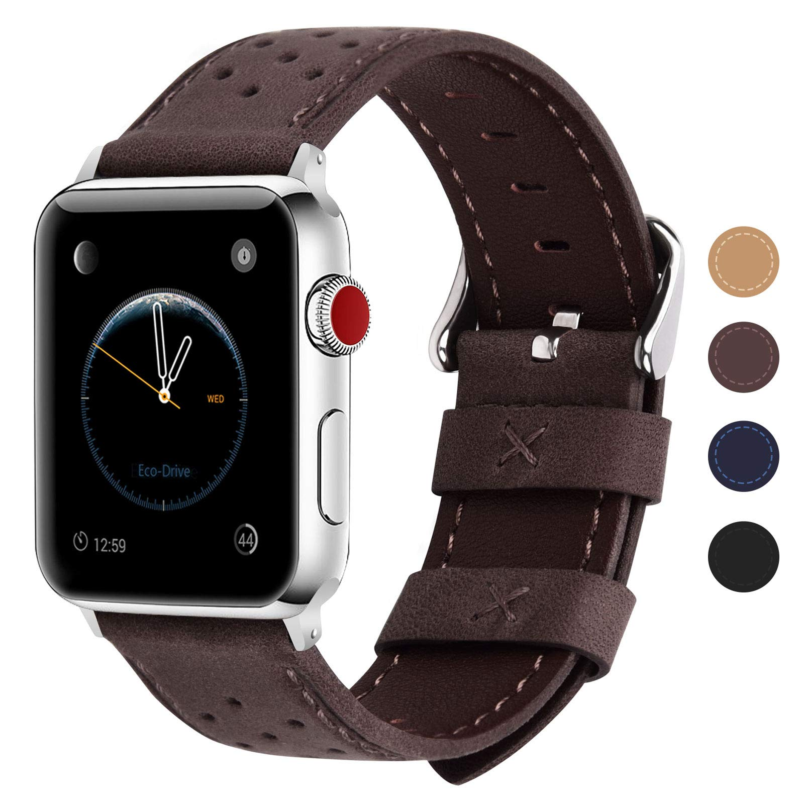 Fullmosa Compatible Apple Watch Band 38mm 40mm 42mm 44mm, Breeze Leather Band Compatible iwatch Series SE, Series 6, Series 5, Series 4, Series 3,Series 2, Series 1, 38mm 40mm Coffee