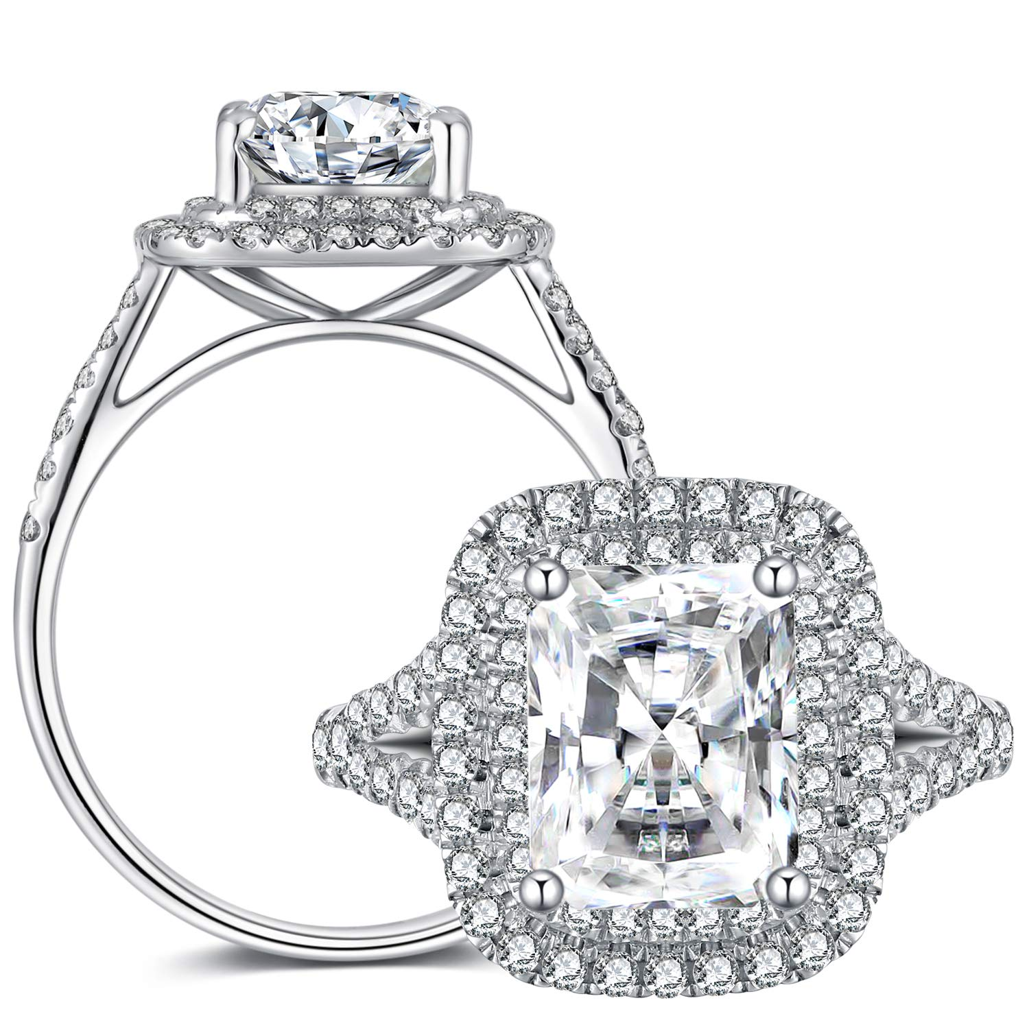 GEM DE LUXE 2ct Cushion Cut 2.3mm Width F-G Color Double Halo Solitare Moissanite Engagement Ring with Accents Platinum Plated Silver for Women