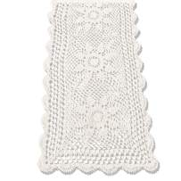KEPSWET Sunflower Cotton Handmade Crochet Lace Rectangle Table Runner Coffee Table Decor (14x60 inch, Beige)