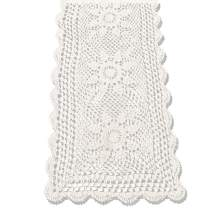 KEPSWET Sunflower Cotton Handmade Crochet Lace Rectangle Table Runner Coffee Table Decor (14x36 inch, Beige)