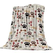 Edwiinsa Cartoon Dog Footprint Paw and Bone Fleece Blanket Lightweight Super Soft Microfiber Warm Fuzzy Plush Cozy Luxury Bed Blankets 40'' x 50''