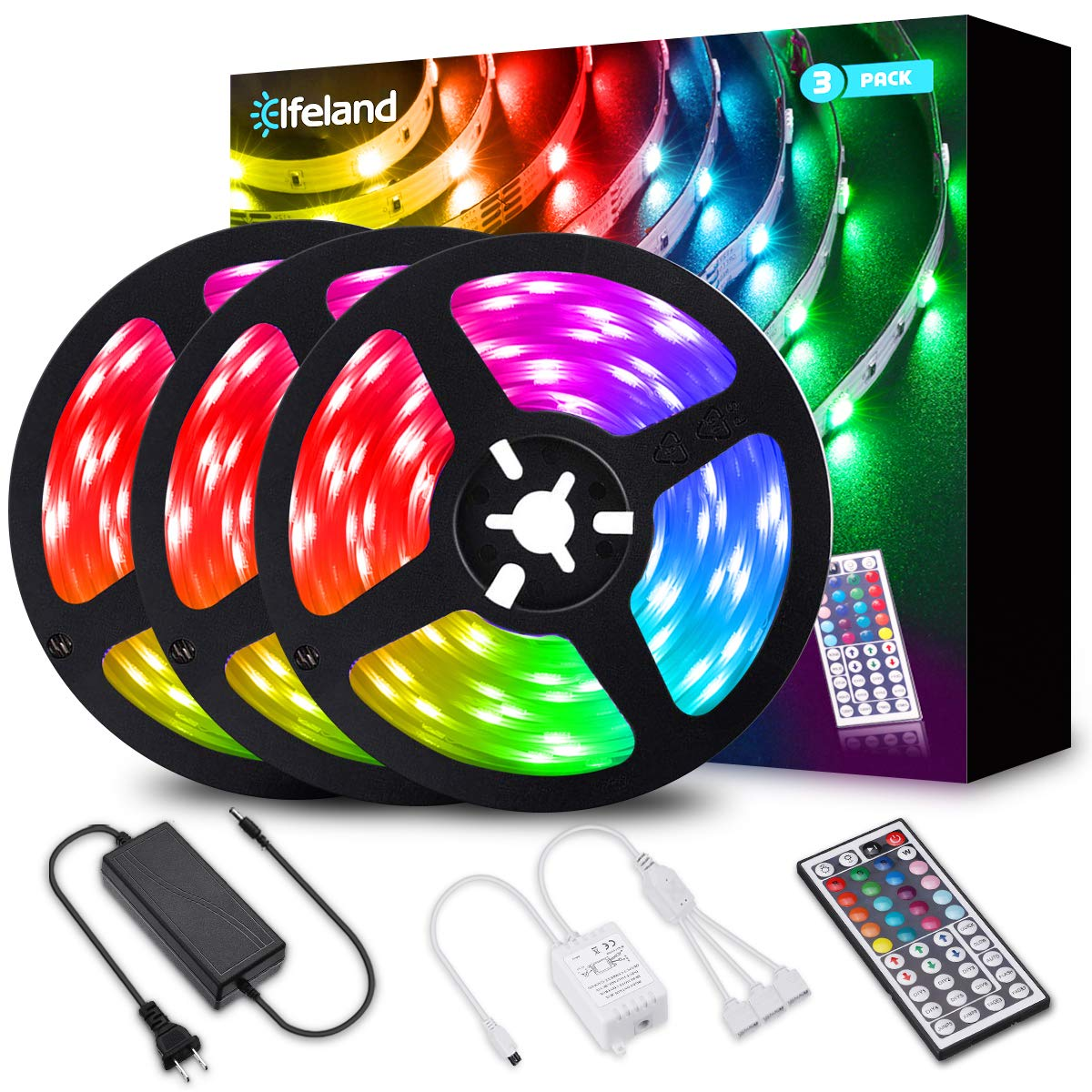 Elfeland LED Strip Lights 39.3FT/12M 5050 RGB Light Strips Color Changing Rope Lights Flexible Tape Light Kit with 44 Keys IR Remote Controller & 12V 5A Power Supply
