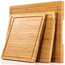 Large Cutting Boards for Kitchen (Set of 3), Thick Wood Bamboo Cheese Board Chopping Blocks for Meat, Veggies, Fruits, Pizza