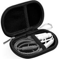 RISETECH Earbud Case Earphone Carrying Case Waterproof Hard EVA MP3 Player Case Headphone Small Storage Pouch for BeatsX Powerbeats3, Jaybird X3 X4 Tarah, Bose soundsport, with Carabiner - Black