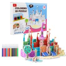 2020 New 3D Coloring Puzzle with 12 Watercolor Pens, DIY Art Drawing Creative Toys for Kid Toddlers Boys Girls, Best Painting Crafts Kit Birthday Gift Age 6 7 8 9 10 11 12 13 Year Old(Castle)