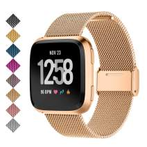 SMEECO Compatible for Metal Stainless Steel Strong Magnetic Loop Smartwatch Mesh Wrist Band Universal Use for Men and Women Fitbit Versa 2 /Fitbit Versa/Versa Lite Edition/SE