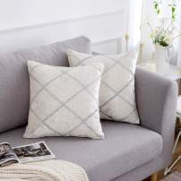 "Yeadous Decorative Jacquard Diamond Bright Wire Throw Pillow Covers, 2 Pack Velvet Pillow Cover Sham Cushion Cover, Sofa Couch Throw Pillow Cover, Square Pillowcase-Cream 18"" x 18"""