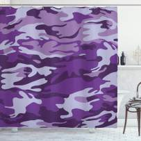 """Ambesonne Camouflage Shower Curtain, Vibrant Color Abstract Style Splashes Design Pattern Hunting Hobby Print, Cloth Fabric Bathroom Decor Set with Hooks, 84"""" Long Extra, Purple Grey"""