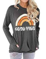 Bemawe Womens Long Sleeve and Sleeveless Good Vibes T Shirt Vintage Graphic Tee Shirts Rainbow Print Tank Tops Tunics