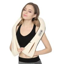 Nekteck Back Neck and Shoulder Massager with Heat, Deep Tissue 3D Kneading Pressure Shiatsu Electric Massage for Muscle Pain Relief, Office Chair, Car & Home Use (Beige)