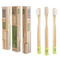 Rain Organic Bamboo Baby Kids Toothbrush - 100% Safe Infant Toddler Toothbrush 6 to 12 Months and Up, Natural BPA-Free Biodegradable Wood Toothbrush Extra Soft Bristles Children's Dental Care (3 Pack)