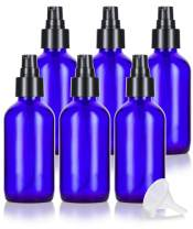 4 oz Cobalt Blue Glass Boston Round Treatment Pump Bottle (6 Pack) + Funnel for Essential Oils, Aromatherapy, Food Grade, bpa Free