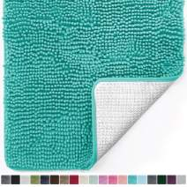 Gorilla Grip Original Luxury Chenille Bathroom Rug Mat, 24x17, Extra Soft and Absorbent Shaggy Rugs, Machine Wash Dry, Perfect Plush Carpet Mats for Tub, Shower, and Bath Room, Turquoise