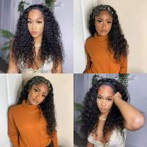 Deep Wave Headband Wig Brazilian Human Hair Wigs For Black Women Brazilian Virgin Hair Wigs None Lace Wigs With Free Headbands Deep Curly Wigs 180% Density Natural Color 24 Inch