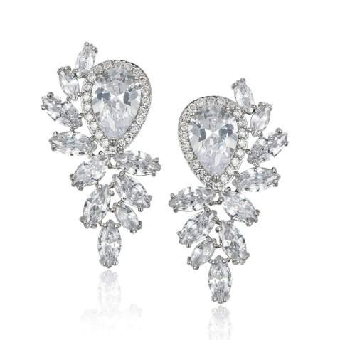 Marquise teardrop bridal earrings and necklace set Rhinestone silver dangle chandelier earring Art deco wedding Crystal wedding jewelry set