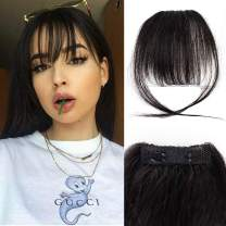GongXiu Clip in Wispy Air Bangs Real Human Hair Extensions Natural Black Bangs Hair Clip in Fringe Straight Bangs with Temples for Women