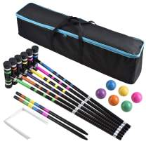 [6 Players]Premium Croquet Set for Families, BroWill Croquet Set with Carrying Bag for Yard Outdoor Lawn Backyard Games for Kids Adults All Ages, 35 Inch