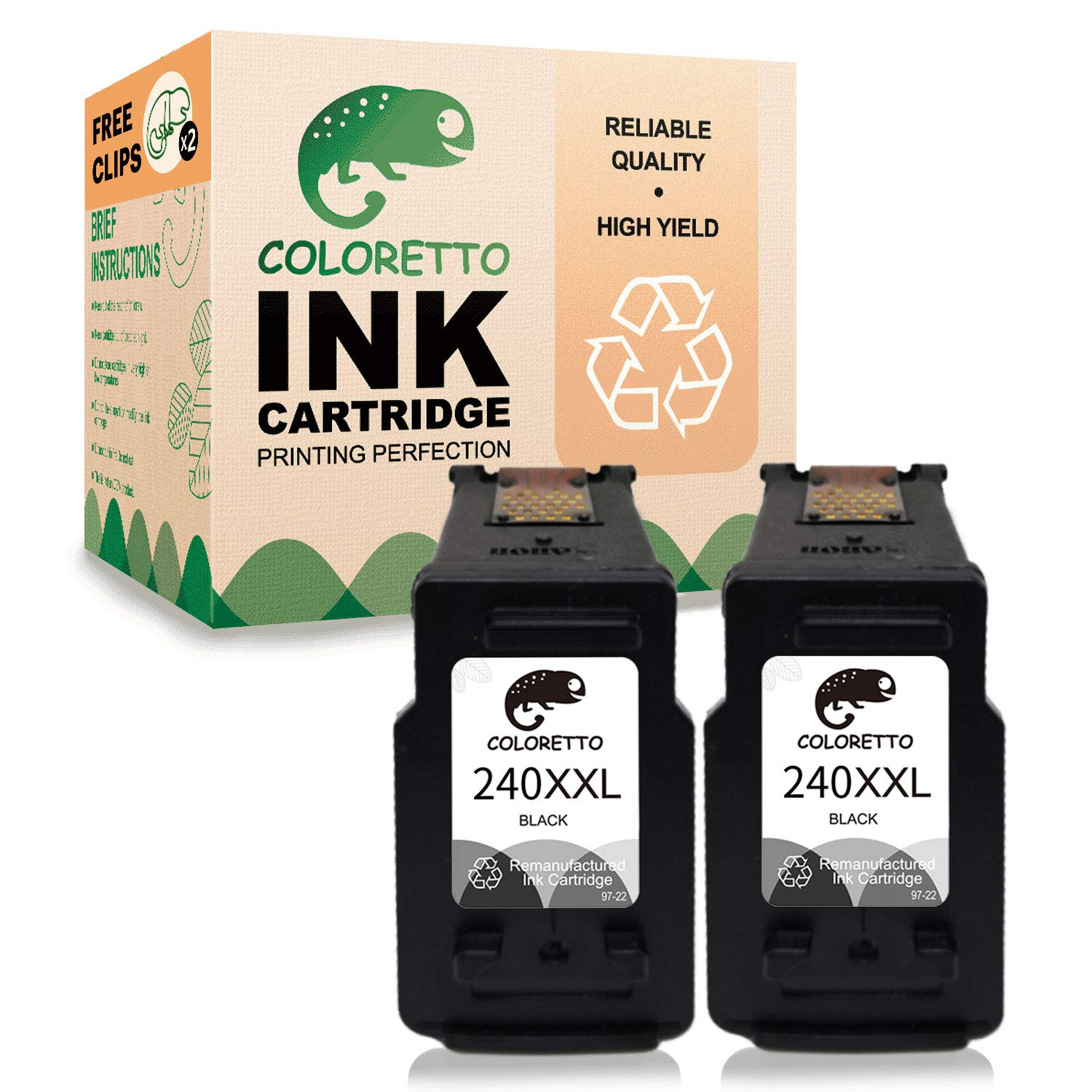 Coloretto Re-Manufactured Printer Ink Cartridge Replacement for Canon PG-240XXL,240XL 240 XL Used in PIXMA MG3620 MG3520 MG3220 MG2220 MG2120 MX532 MX472 MX432 MX452 MX522 TS5120 MX392 (2 Black