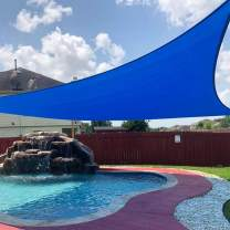 Peaktop Outdoor 20'x20'x20 Blue Sun Shade Sail 185 GSM Triangle 98% UV Block Canopy Water & Air Permeable Awning Patio Garden Porch, 5 Years Warranty