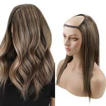 RUNATURE 16 Inch U Part Wigs Human Hair Darkest Brown Highlighted Light Brown U Shape Wigs for Women Straight Half Wigs Straight Hair Extensions 120g U Wigs Brown Hair Extensions