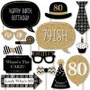Big Dot of Happiness Adult 80th Birthday - Gold - Birthday Party Photo Booth Props Kit - 20 Count