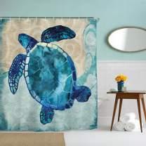 "IcosaMro Ocean Shower Curtain for Bathroom with Hooks, Sea Turtle Nautical Decorative Long Cloth Fabric Shower Curtain Bath Decorations- 71"" Wx72L, Turquoise"