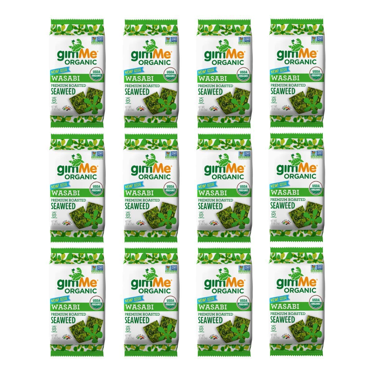 gimMe Organic Roasted Seaweed - Wasabi - 12 Count - Keto, Vegan, Gluten Free - Great Source of Iodine and Omega 3's - Healthy On-The-Go Snack for Kids & Adults